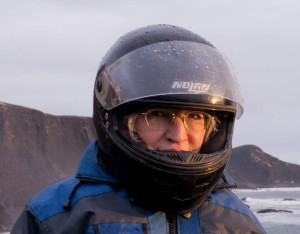 geared up for snowmobiling in Iceland